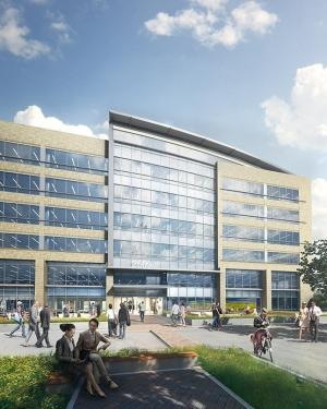 Conceptual image of a building that Apple has leased in north San Jose, part of a complex of two to three buildings being developed by realty firm