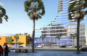 Courtesy Orloff Williams -- Pictured is an artist's rendering of a high-rise development called Museum Place, proposed for construction on Park